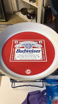white and red Budweiser ceramic plate