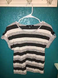 white, black and gray striped scoop neck shirt Modesto, 95355