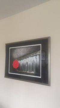 Red and white umbrella painting with black frame Victoria, V8X 0A3