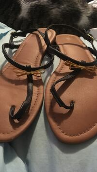 Size 11 Cato sandals black with gold bow Myrtle Beach, 29588