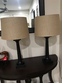two black wooden base white shade table lamps 913 mi