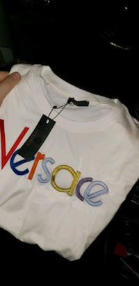 Versace shift white with coloured lettering m/large