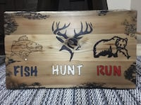 """Handmade 14 1/2 x 24 Engraved and painted wood """"Fish, Hunt, Run"""" sign Minneapolis, 55414"""