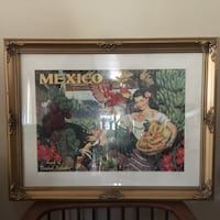 Mexico  matted Picture and Wooden Ornate Frame Mexican