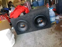 "Powerbass 2 12"" subwoofer and box Mission"