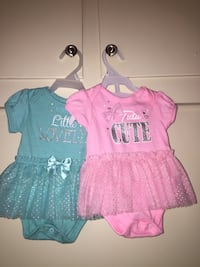 two baby's pink and teal Little Lovely and Tutu Cute peplum onesies Pomona, 91767