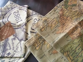 (2) Green only World  map cushion covers