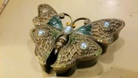 Unique butterfly metal jewel encrusted jewelry box