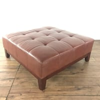Contemporary Brown Leather Upholstered Button Tufted Square Ottoman (1019118) South San Francisco