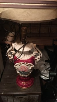 White and red table lamp base