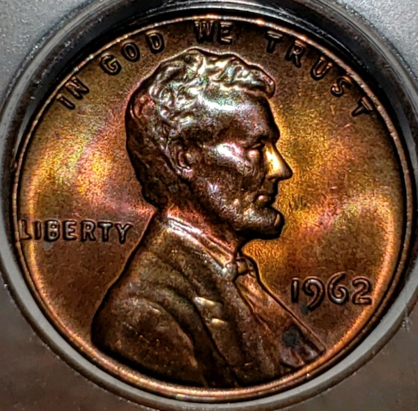 1962 Lincoln Penny Rainbow o/c with doubling NICE