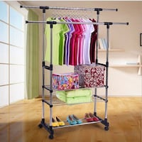 NEW 3 Tier Rolling Double Rail Adjustable Clothes Rack Hanger Centreville