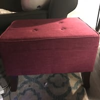 UNAVAILABLE - pending payment - Red fabric storage ottoman Austin, 78746