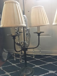 two black metal base white shade table lamps Oshawa, L1H 0B7