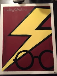 Assorted hand painted Harry Potter themed paintings