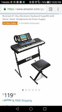 black and white RockJam 61-key electronic keyboard superkit with stand seat headphones & power supply screenshot