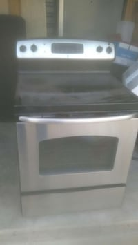 silver and black induction range