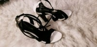 pair of black open-toe ankle strap heels Baltimore, 21201