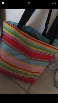 red, yellow, green and blue striped tote bag