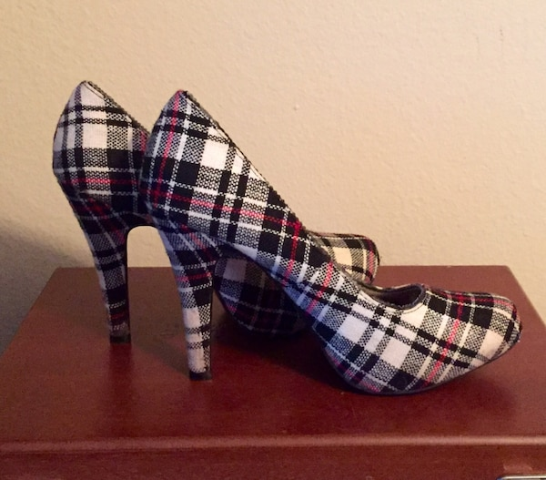 12f10c70489 Used pair of white black and red plaid platform heels for sale in ...