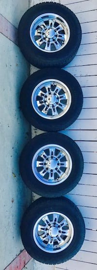 Four chrome multi-spoke auto wheels with tires Rancho Cucamonga, 91730