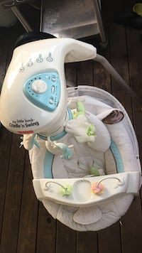 white and blue Fisher-Price cradle 'n swing Raleigh, 27610