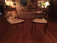 two white padded midcentury chairs  Los Angeles, 90010