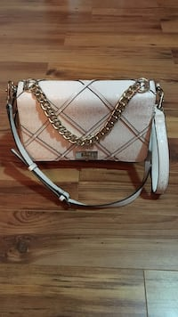 Pink with silver-coloured strap crossbody bag