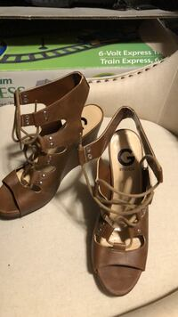 pair of brown leather open toe ankle strap heels Cambridge, N1R 8P5