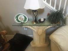 rectangular clear glass side table with brown concrete base