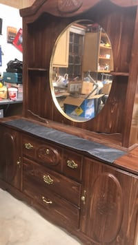 Brown wooden framed glass display cabinet with matching chest of drawers Greenville, 29611