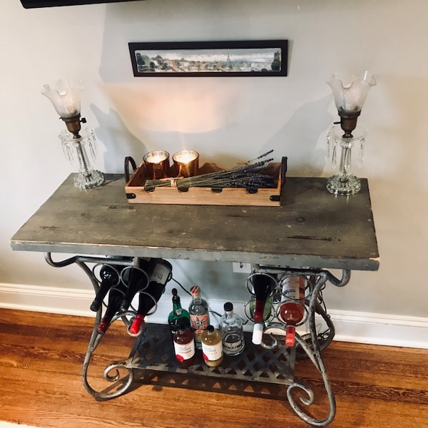 Grey wood and metal wine rack table