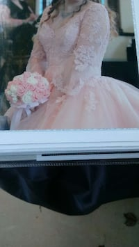 women's pink 3/4 sleeve bridal gown