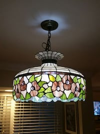 White green and pink floral stained glass pendant lamp Winchester, 22602