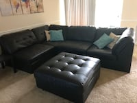 Faux Leather black sectional Centreville, 20121