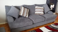 Three seater couch with cushions gray Mississauga, L5M 7W1
