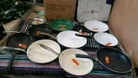 white and green ceramic plates