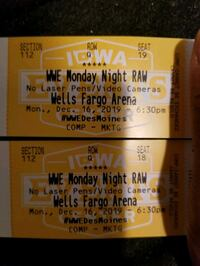 WWE Raw tickets for sale