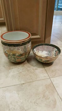 Chinese planter and matching bowl Vaughan