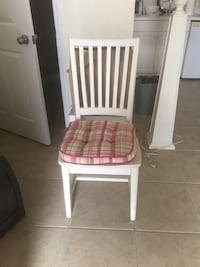 White wood chair with cushion good condition