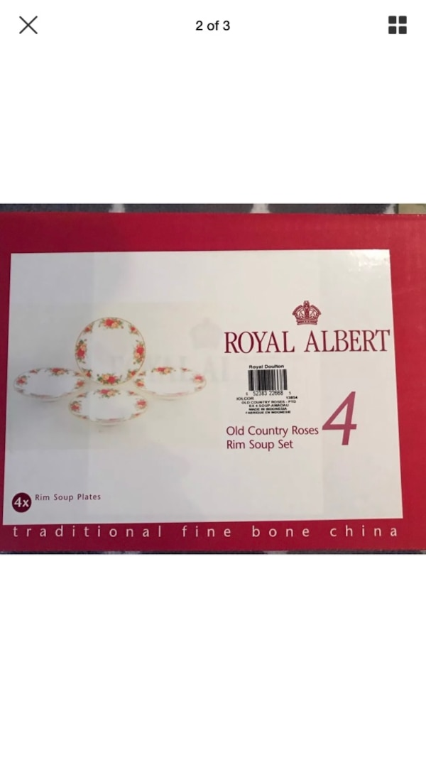 New in box Royal Albert old country Roses soup bowls set of four  0f552feb-aa84-45c6-b9f2-c3120f319508