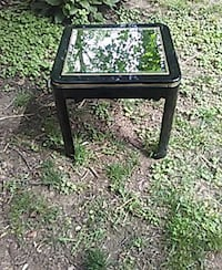 End table with glass inlay