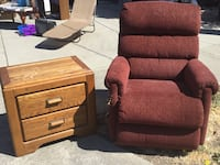 two brown wooden framed red padded armchairs Concord, 94520