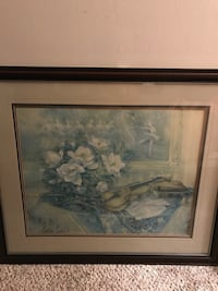 white and blue flower painting with black wooden frame Washington, 20024