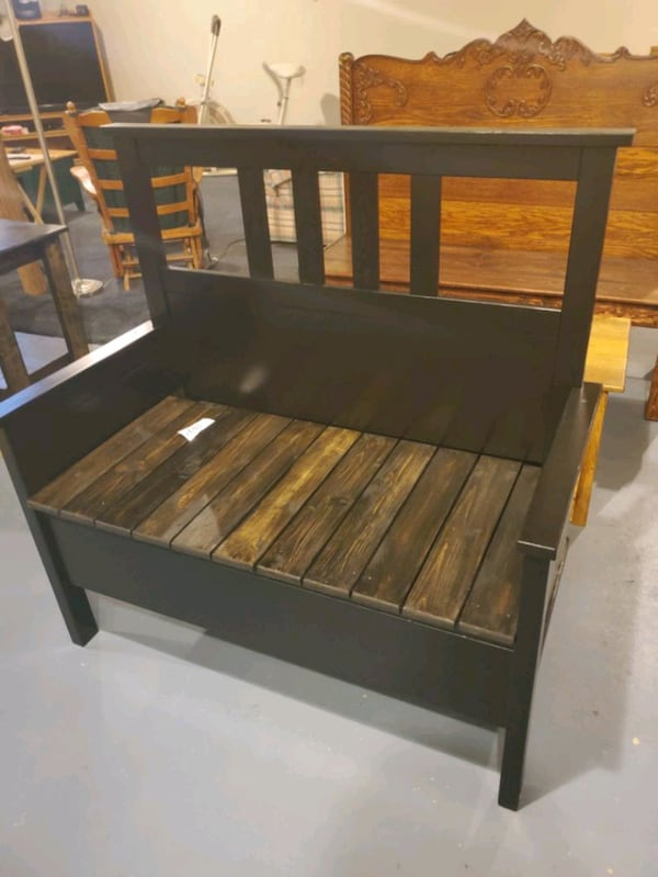 Bench made from twin bed frame black  4c40e35e-c224-4e48-a2ad-c93d1c03ec56