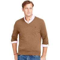 men's brown Polo Ralph Lauren v-neck sweater