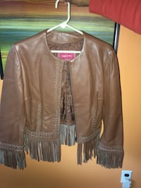 Brown leather zip-up jacket with fringes  Swan Lake, 12783