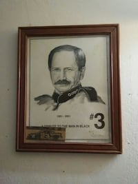 brown wooden framed A Tribute to the man in black 3 sketch