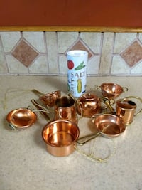 brass and white ceramic tea set Purcellville