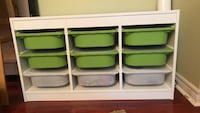 Green and white plastic organizer bins with wooden frame Toronto, M4H 1R2